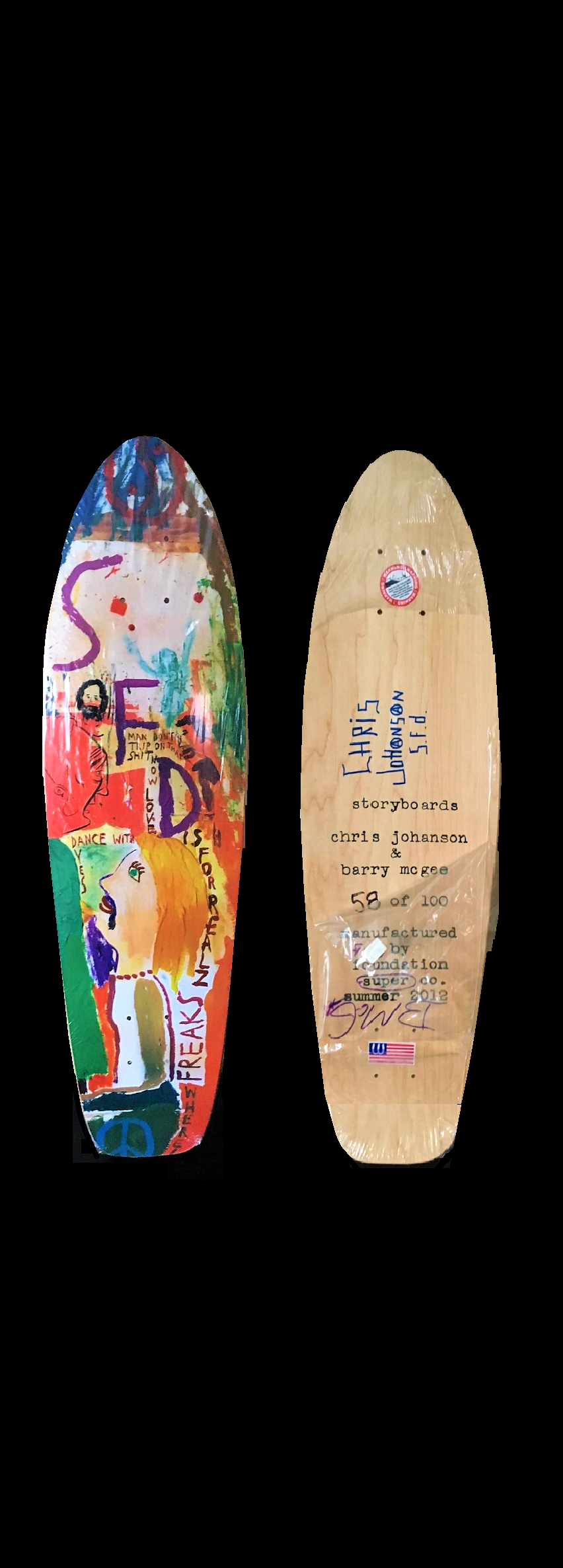 "barry McGEE & chris JOHANSON, ""And Your Friends Are My Friends"" , 2012, wood skate deck, Signed on the reverse by both artists, Numbered on the reverse, Edition 58/100, Published by The Skateroom."