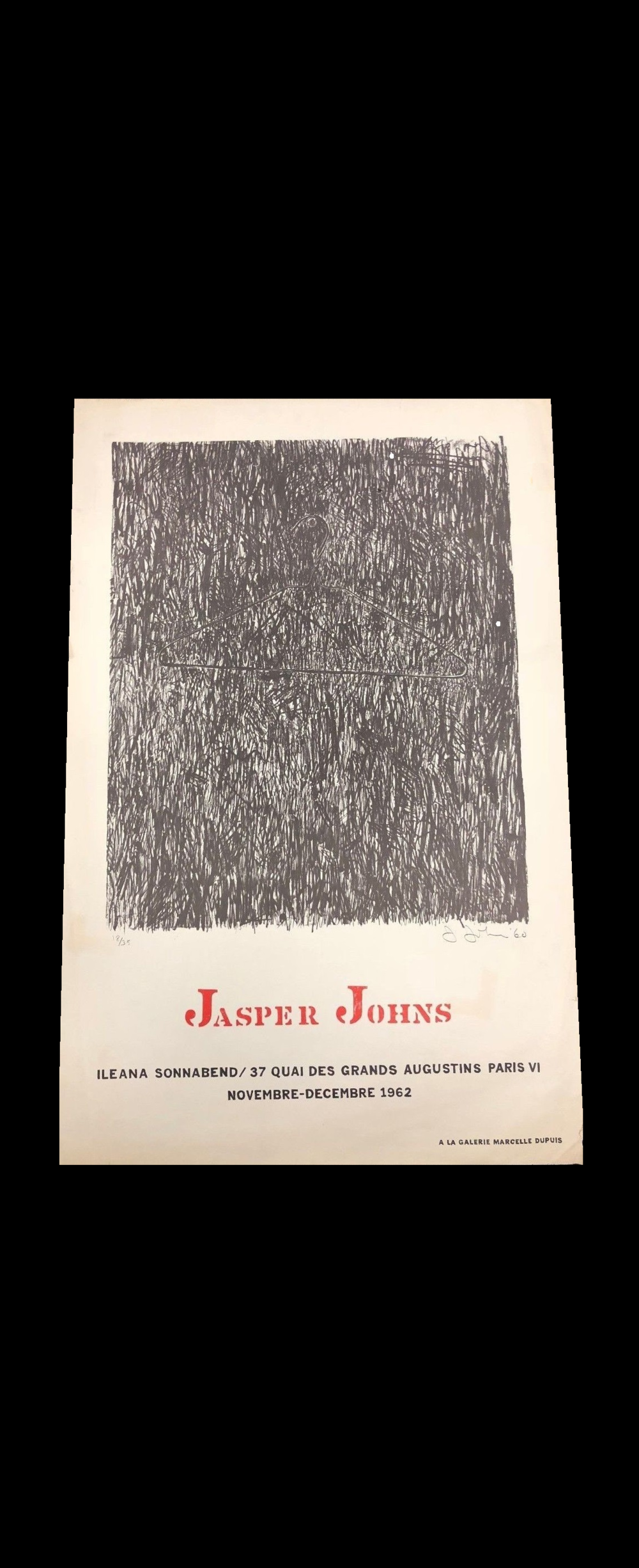 """JASPER JOHNS"",  1962, Exhibition Poster, Ileana Sonnabend Paris., 31-9/10 × 21-3/10 in. (81 × 54 cm)"