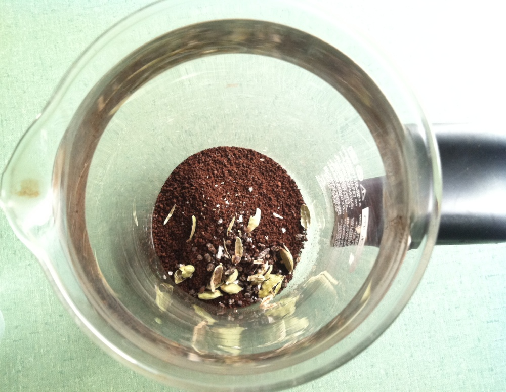 Cardamom and coffee grounds