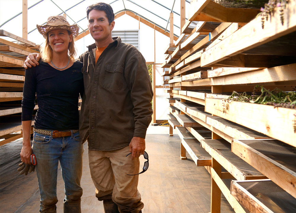 The owners of Zach Woods Herb Farm, where much of UM's organic ingredients are grown