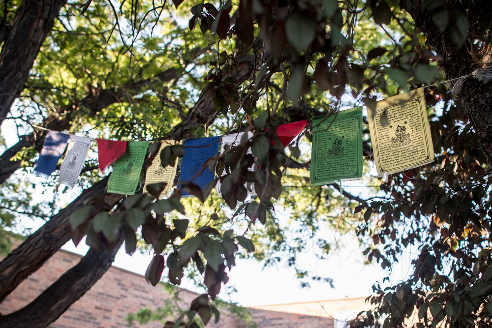 prayer flags outside of birth center