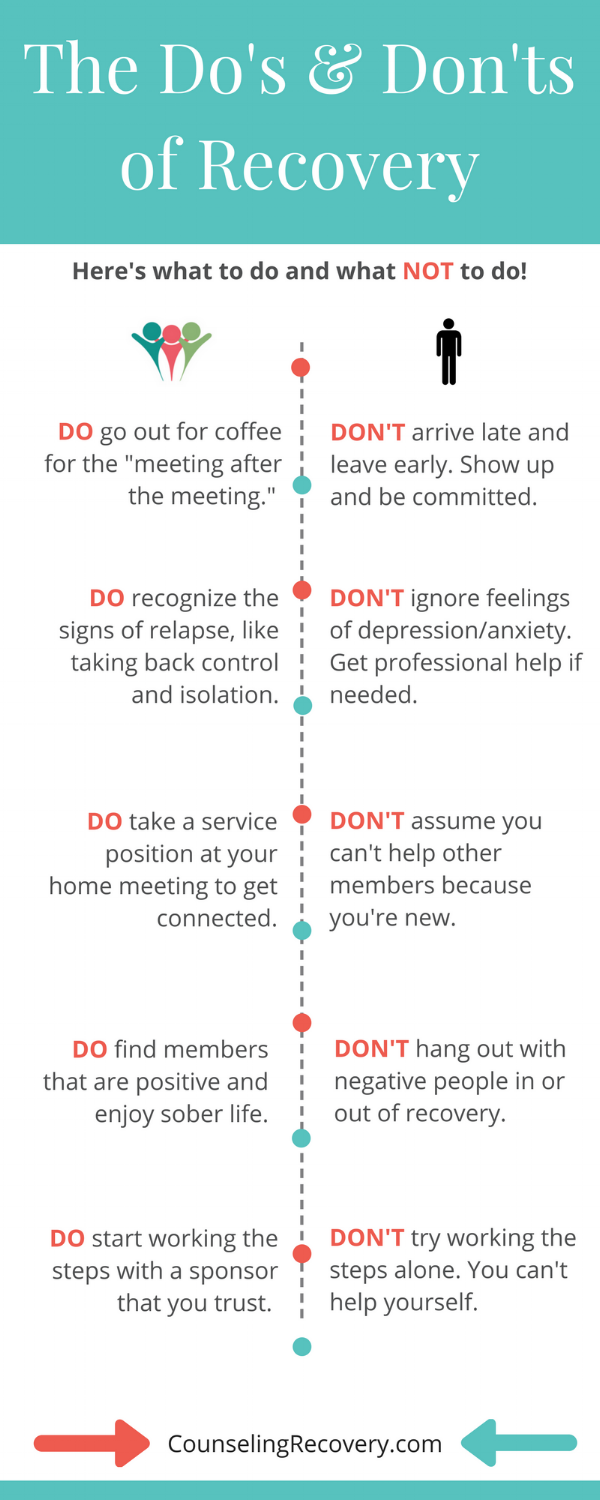 What to do and what not to do in 12 step recovery