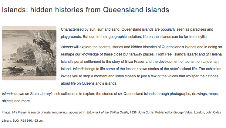 Islands:hidden histories from Queenlsnad islands