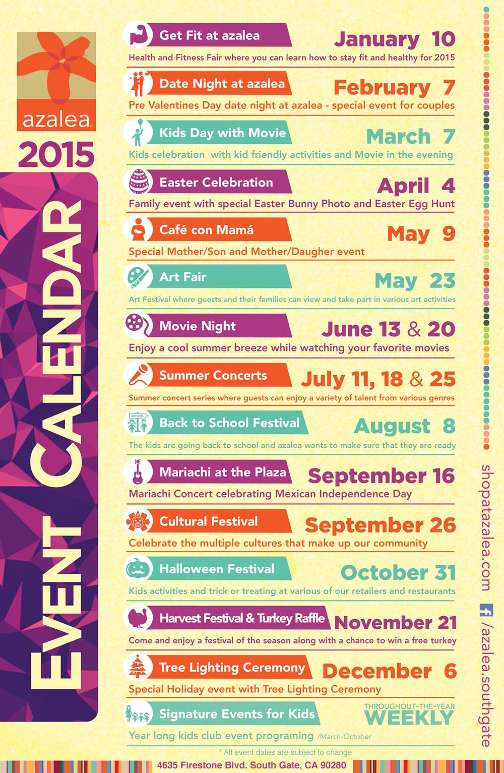 2015 azalea event calendar