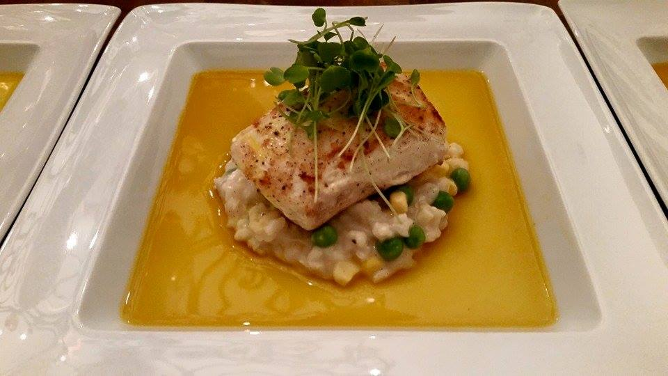 Seabass w/ risotto and saffron broth