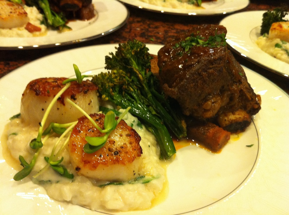 Diver scallops and beef short ribs