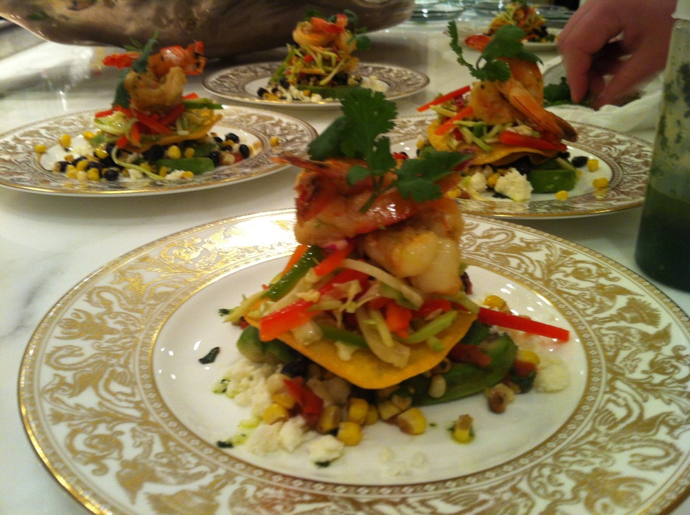 Shrimp tostata w/ corn and black bean salad