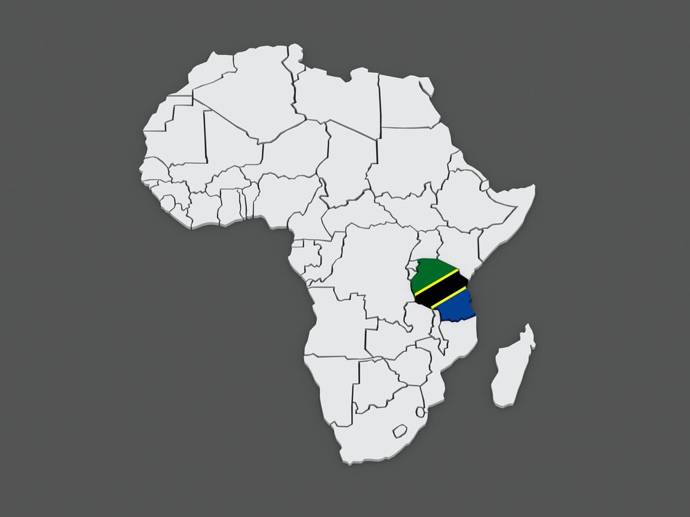 Map of Tanzania , Africa - sole source of tanzanite.