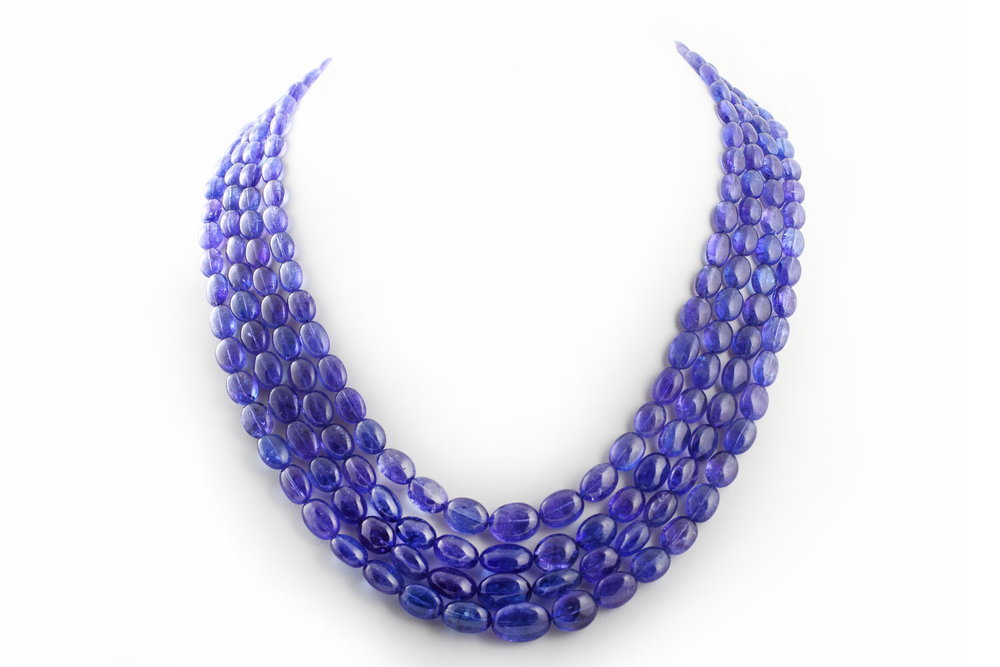 Tanzanite beaded necklace.