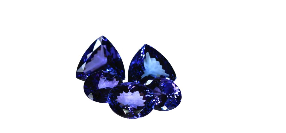 Tanzanite shades of purple and blue.