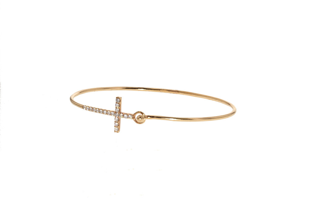 East/West Cross diamond pavé bangle 0.37 tcw set in 18kt rose gold. $3350.