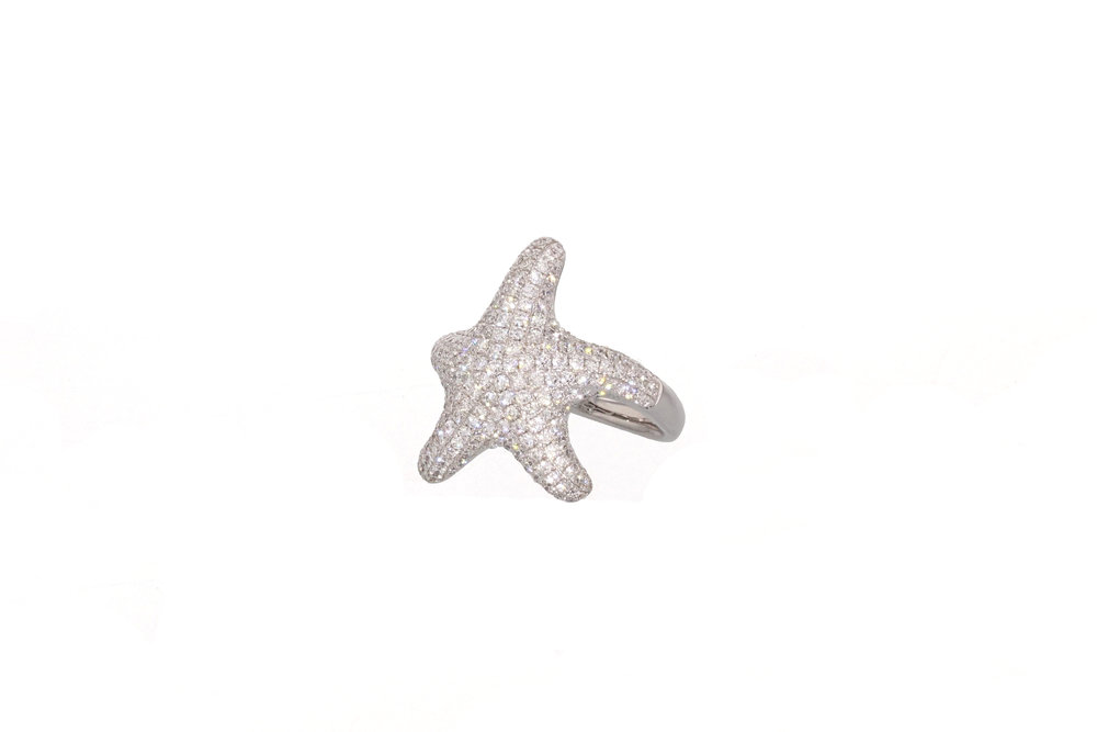 18kt White Gold Diamond Pave Starfish Ring 1.31 tcw.  $4500