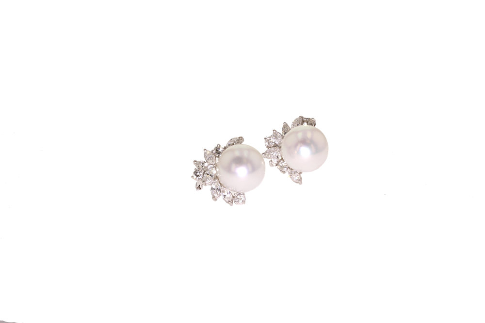 15mm South Sea Pearl and Diamond Earrings set in 18kt White Gold 4.00 tcw. $27,000