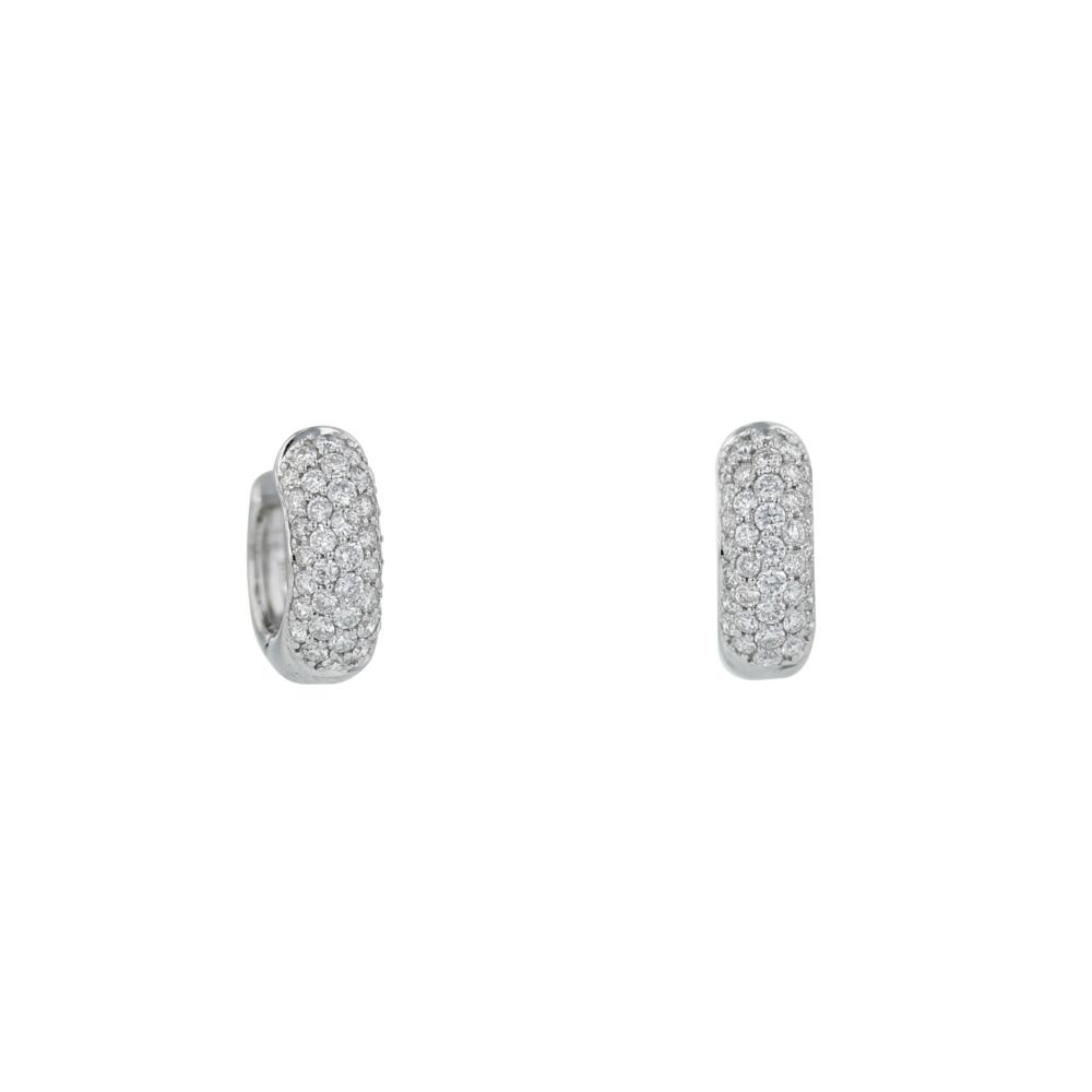 18k w/g Diamond Pavé huggies. $2050