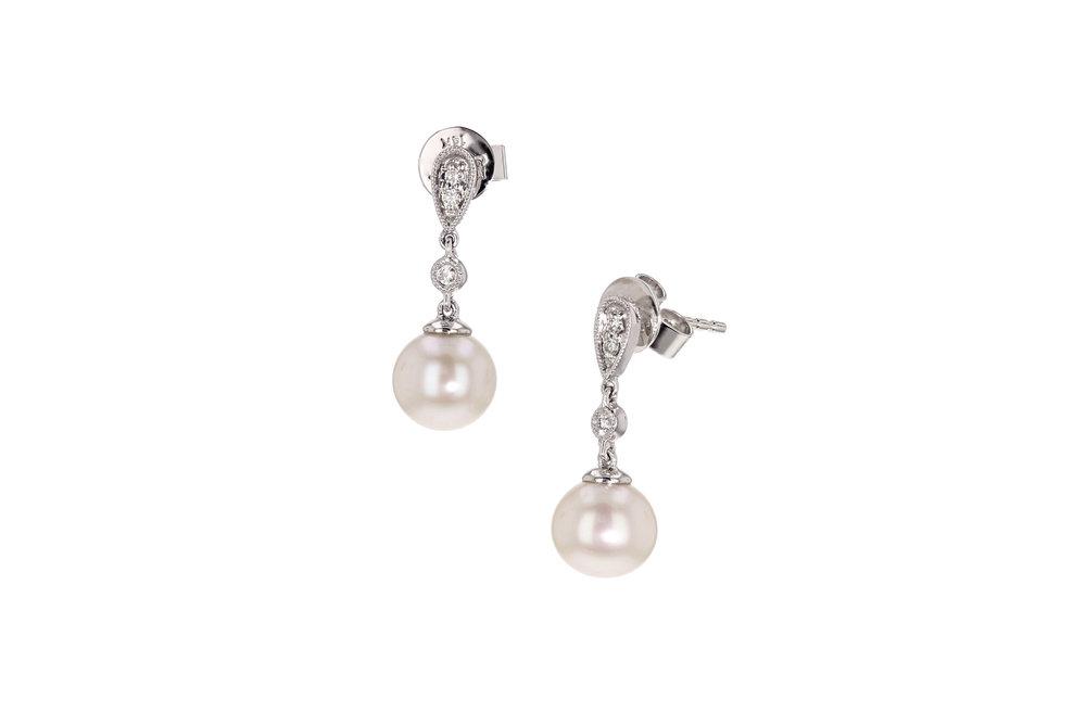 14k w/g Pearl and Diamond drops. $547