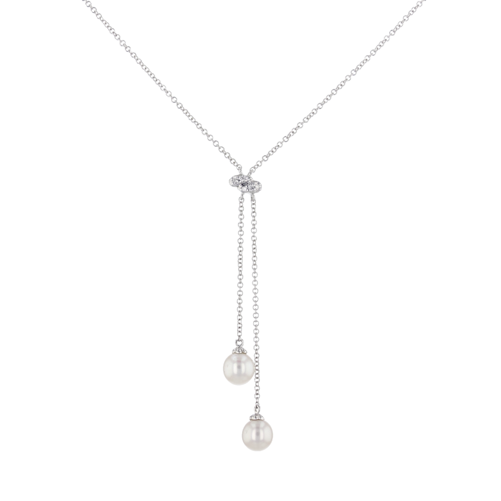 14k w/g Diamond and Pearl lariat. $695