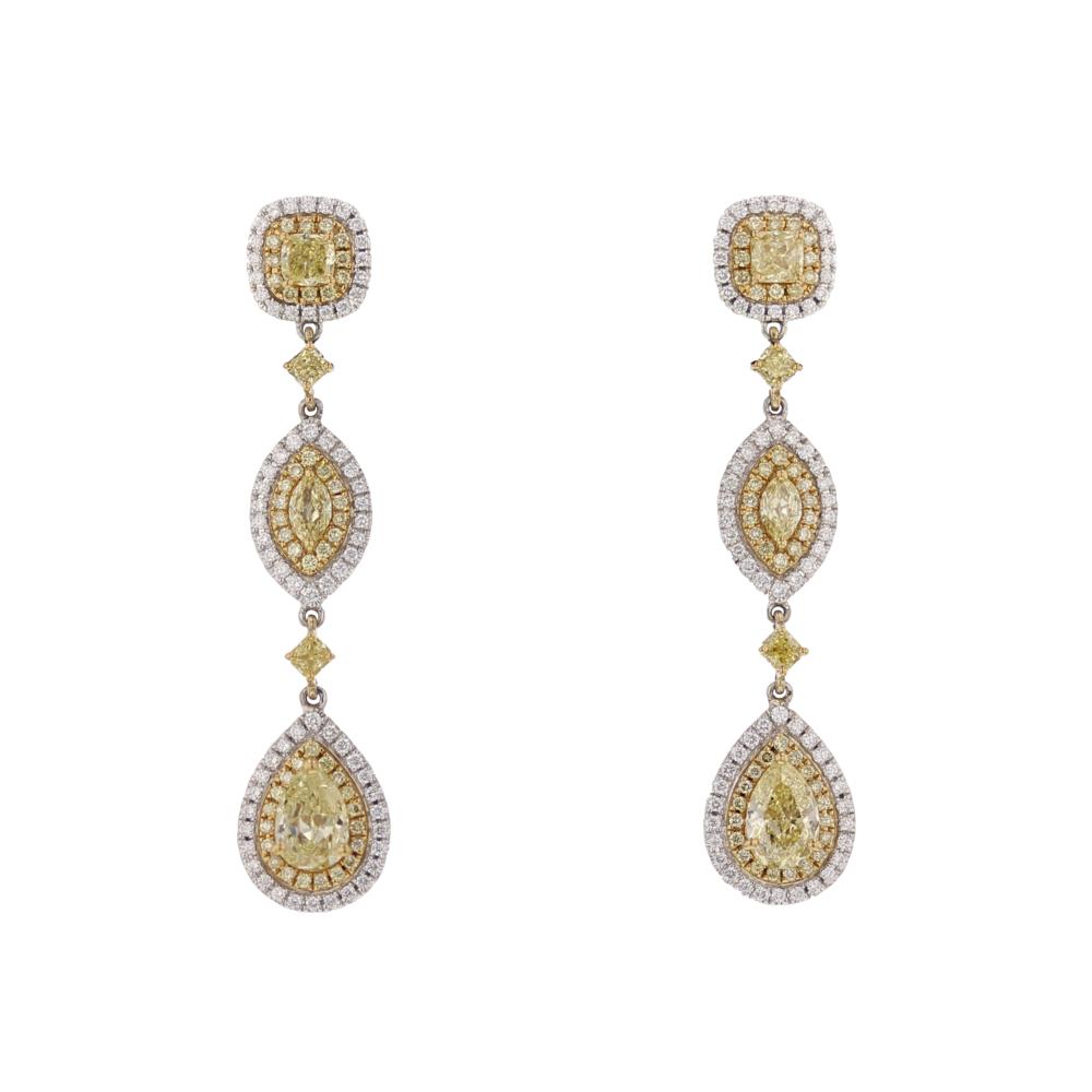 4+ ctw. Yellow & White Dia. earrings. $35,375
