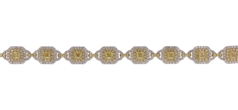 7+ ctw. Yellow & White Dia. Bracelet. Call.