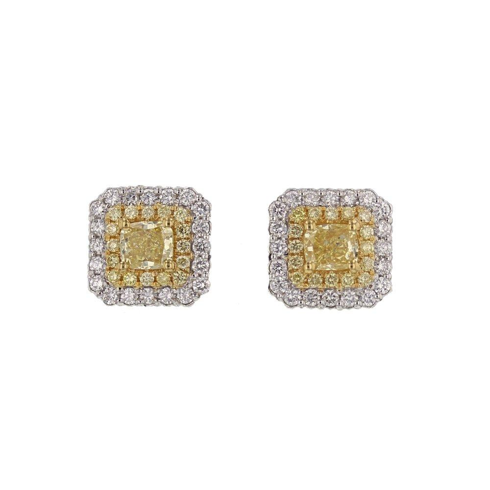 2+ ctw. Yellow & White Dia. earrings. $13,7000