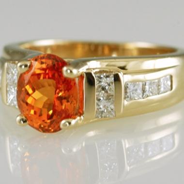 Contemporary  Tangerine Garnet  and Diamond Ring.