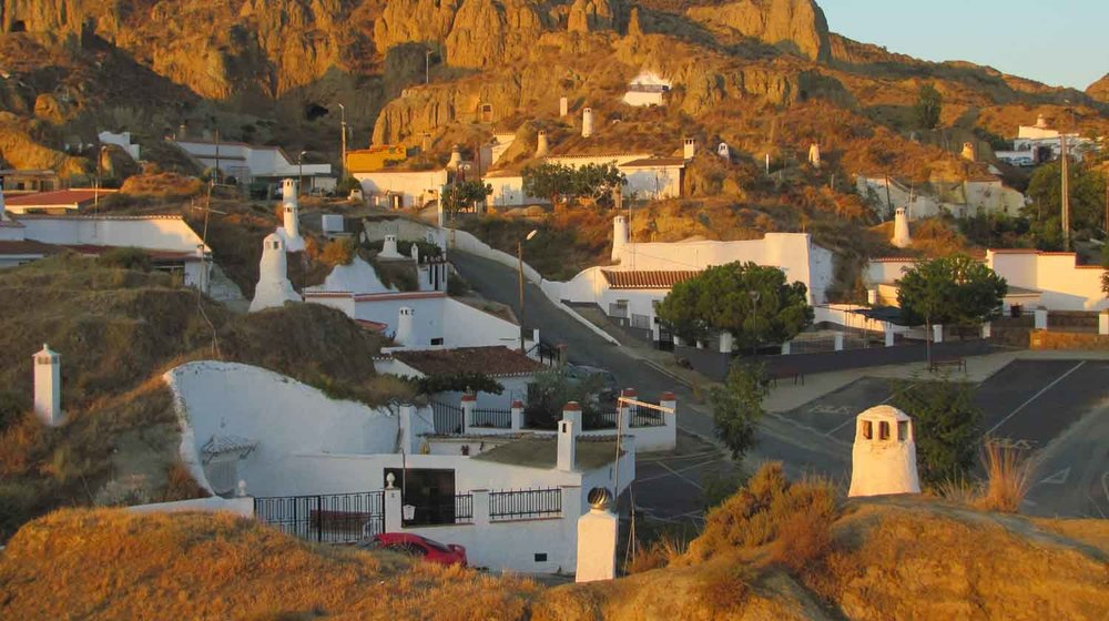 The caves in Guadix at sunrise