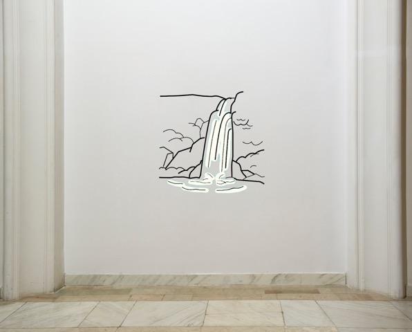 LEA RASOVSZKY, Fluent in Isolation, 2015, instalație sonoră și desen din benzi de metal, aprox. 70 x 70 cm.