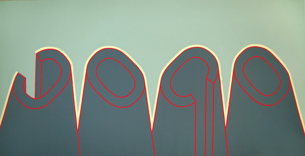 Consoana si vocala, 2007,acrilic pe panza,70x140 cm