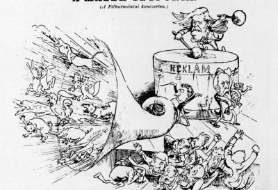 F.2 Caricature of the premiere of Mahler's Symphonic Poem in Two Parts (1889). Source: Bolond Istok 24-11-1889