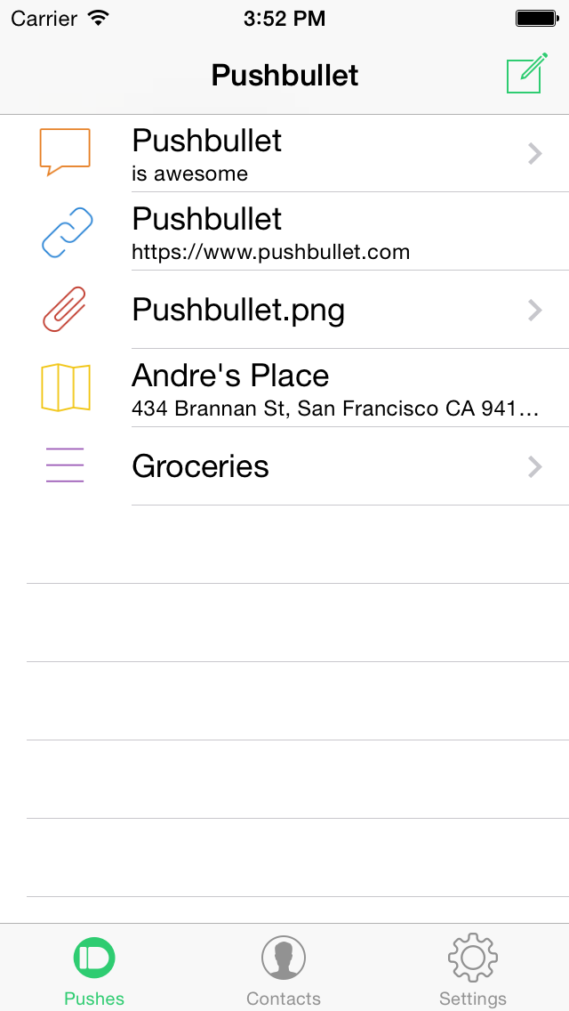 This is how the iOS app looked when I started at Pushbullet.