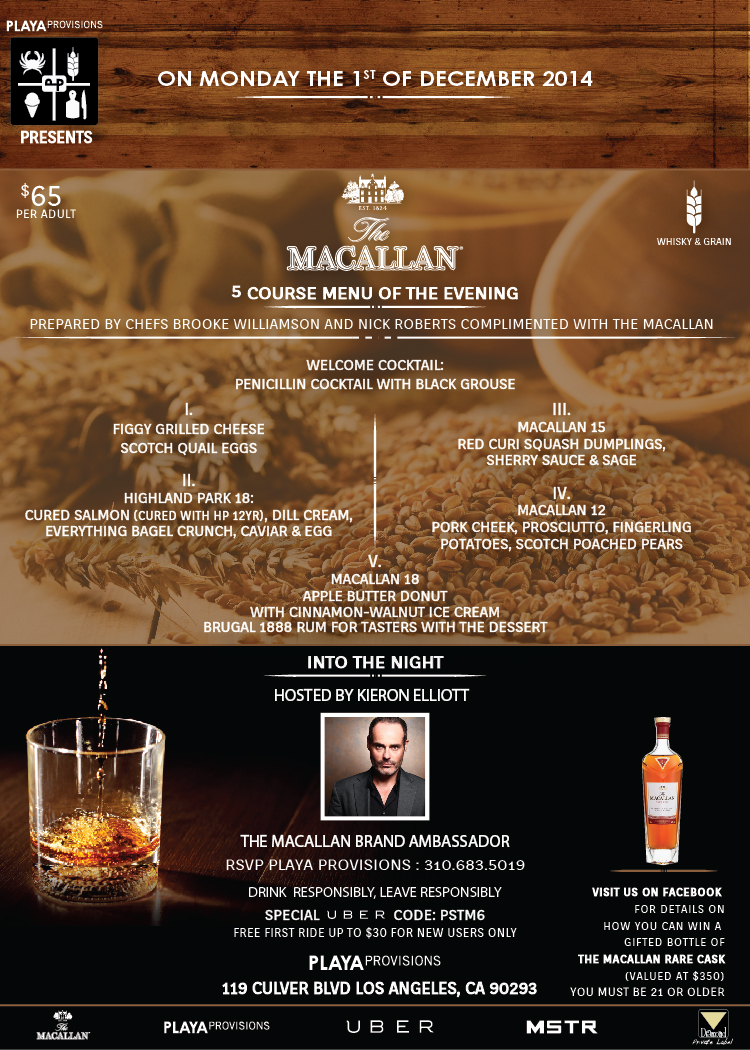 The Macallan 5 Course of The Evening 2014   By Colure and Diamond