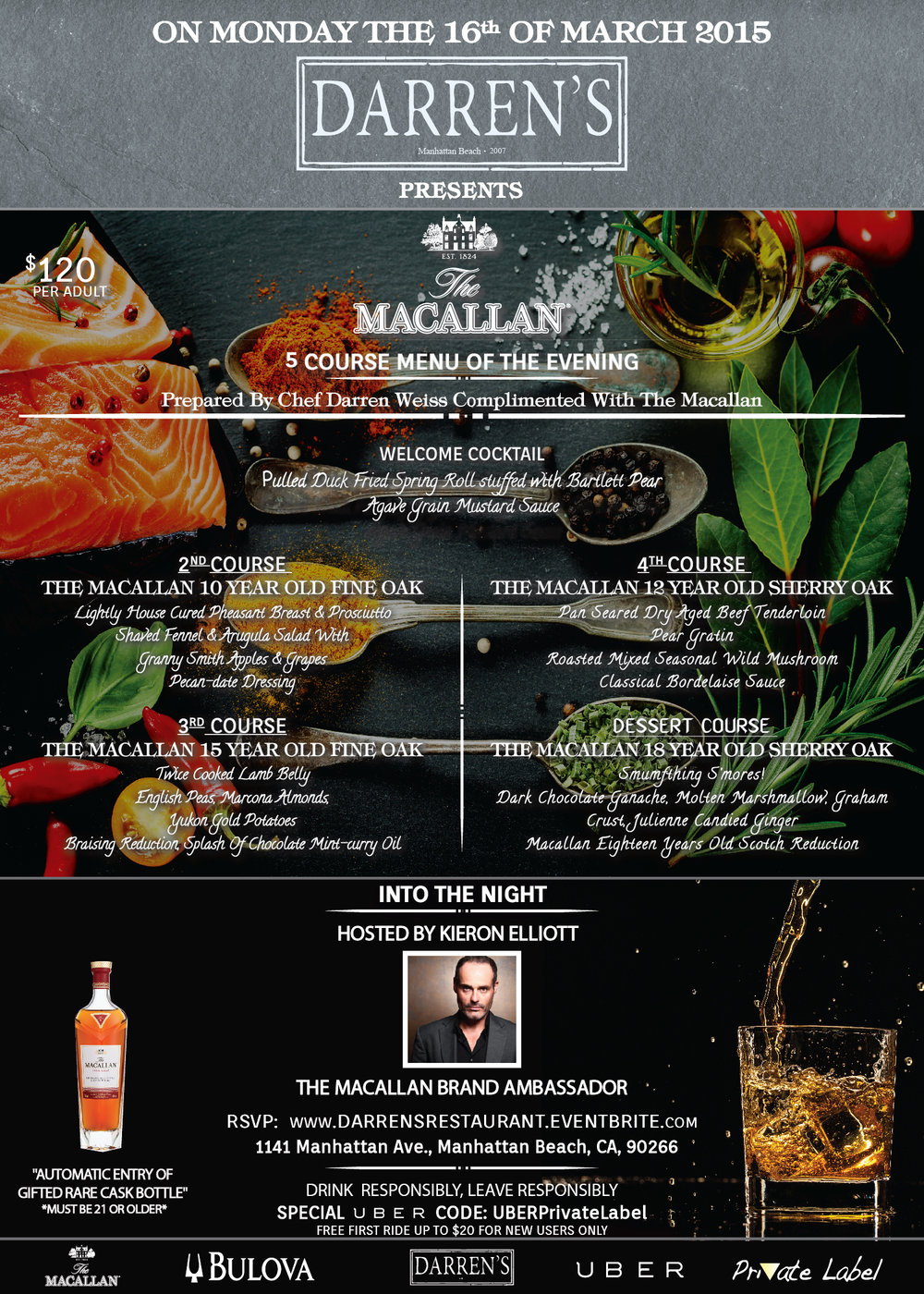 The Macallan 5 Course Menu of The Evening 2015   By Colure and Diamond