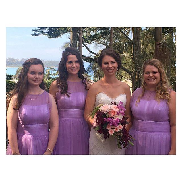 Stunning bride Kate's bridal party. Lovely ladies looking beautiful in their 💜 dresses! Makeup & hair by Belle Allure #bellealluremakeup #belleallurebridal #junerosebridalmakeupandhair #southcoastbridalhair #mollymookwedding #mobilebridalhairandmakeup