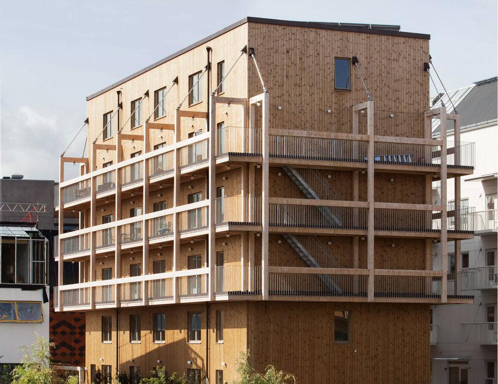 Trähus med hyresrätter i Vallastaden. Byggherre är BoPro och arkitekter Spridd. Foto: Erik Claesson