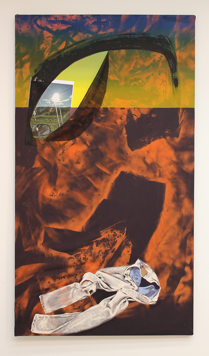 Drive-by , 2016 oil paint, spray paint, inkjet print, on oil paint on canvas 50 in x 88 in