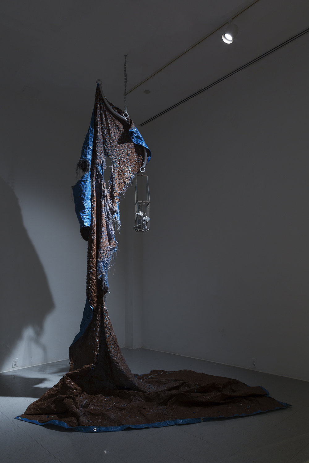 Proud Mary , 2017 Industrial tarp, earrings, fake rhinestones, aluminum, chain, aluminum handrail dimensions variable photo credit: Shark Senesac
