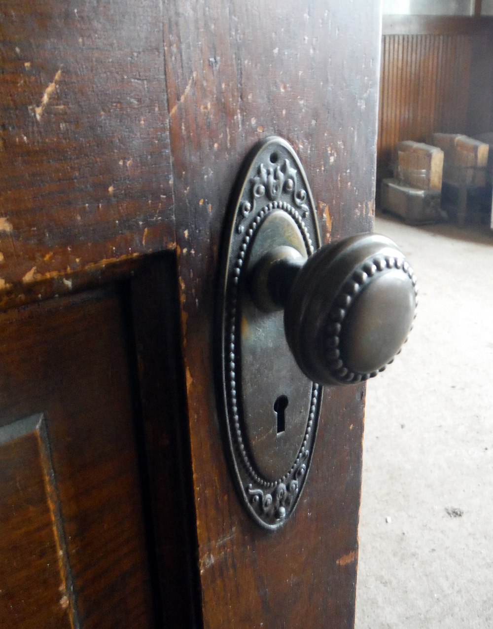 Original doorknob.  Photo by Sydney Haltom, March 2015.