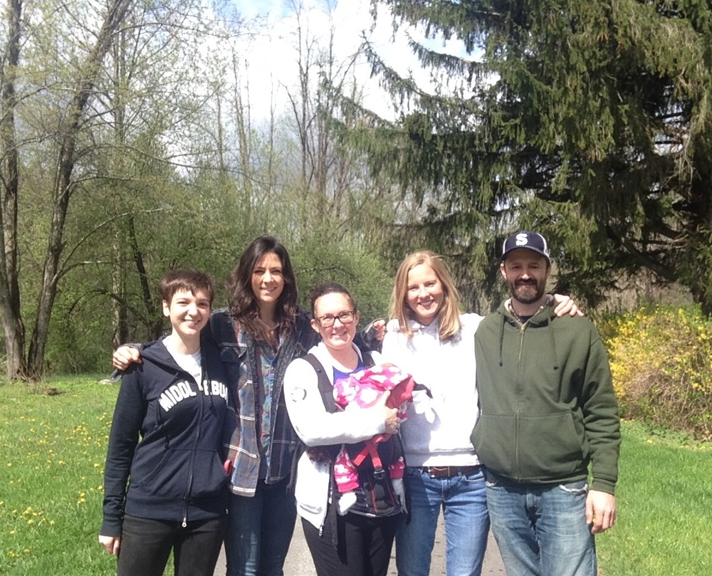 From left to right: Sydney Haltom, Emma Donovan, Emily Wilson-Hauger (holding her daughter Kat), Audrey Stefenson, Scott Prouty