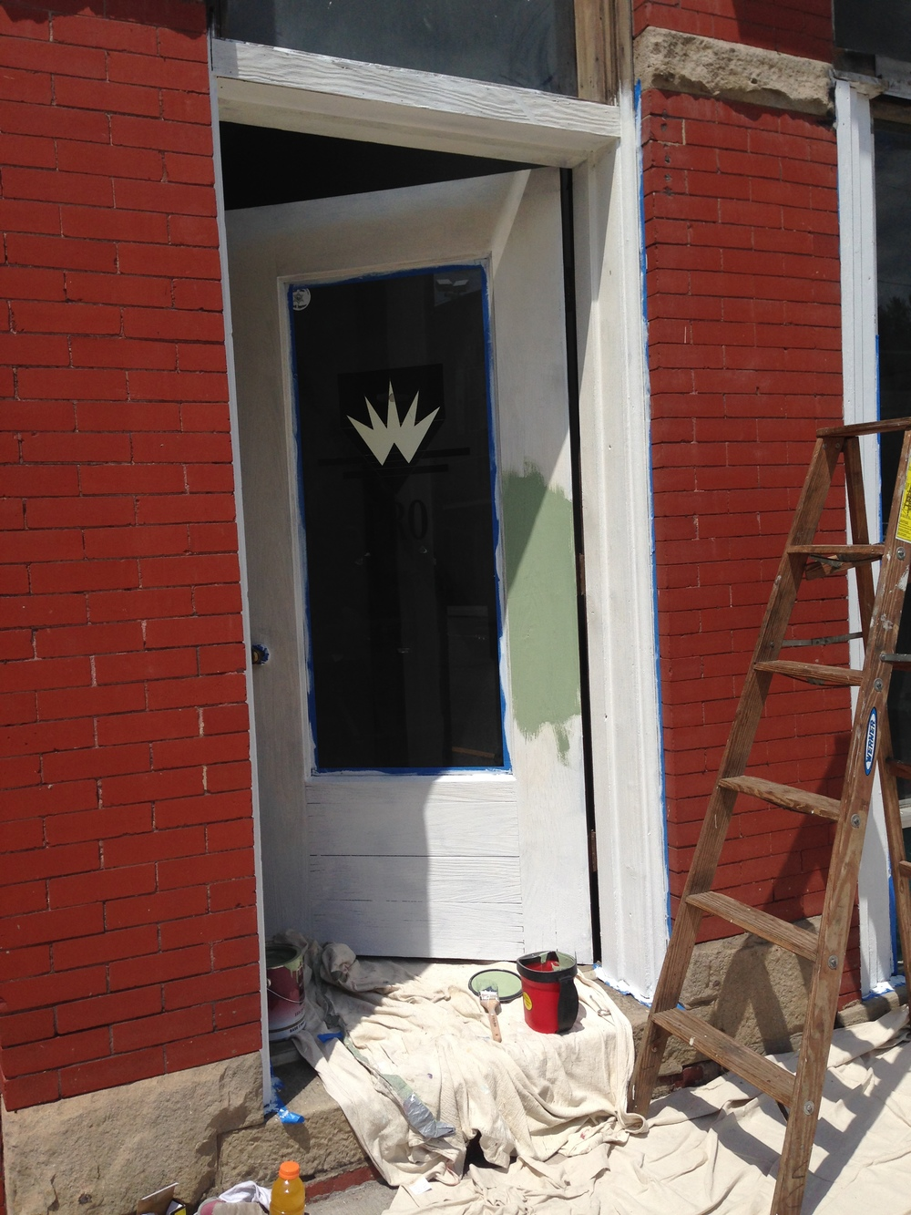 Getting started on the Bank Building side door.