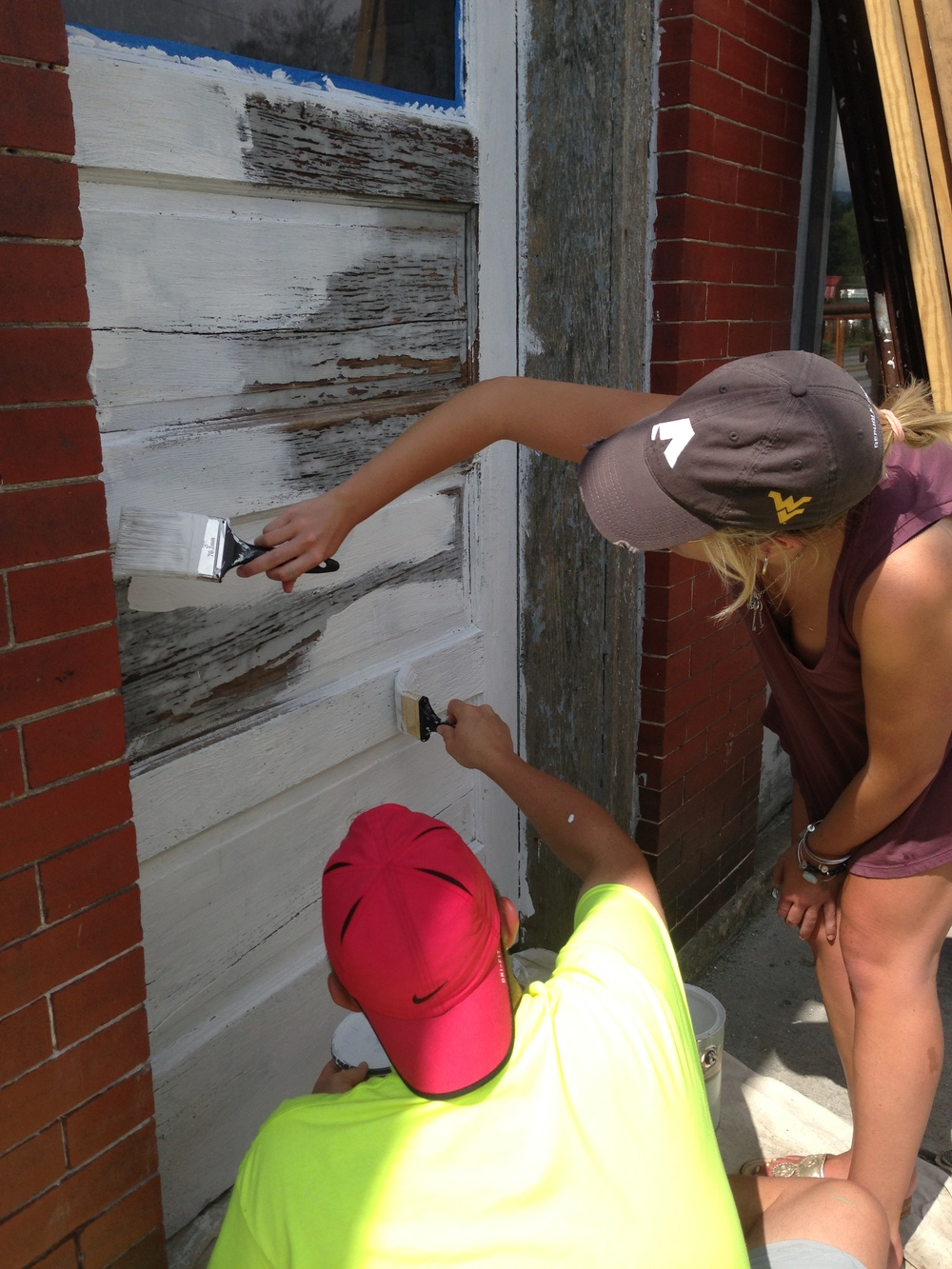 Priming the McDonald Building center door.