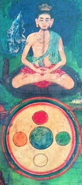 Attainment of the Rainbow Body, a picture from the Temple of the Fourteenth Daiai Lama of Tibet