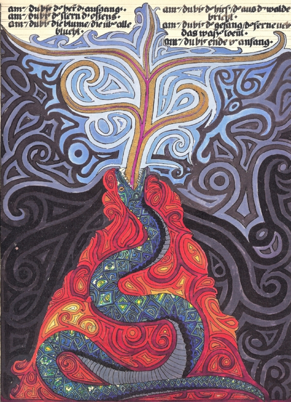 Image: Serpent painting by Carl Jung, in The Red Book, circa 1920