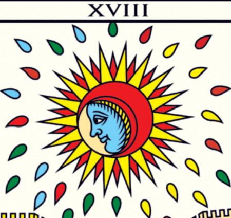 La Lune card from Le Tarot de Marsielle