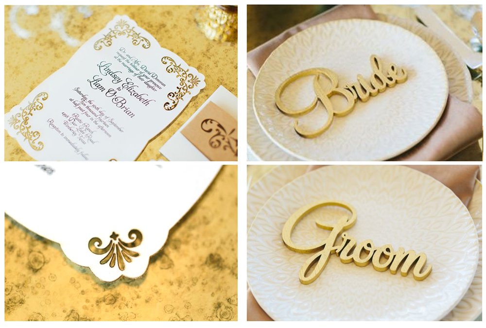 Swooned blog showed off our lace laser cut invitation and gold 3D bride and groom names in September 2014. All photos are by Al Gawlik and styling is by Pink Parasol Design and Coordination.