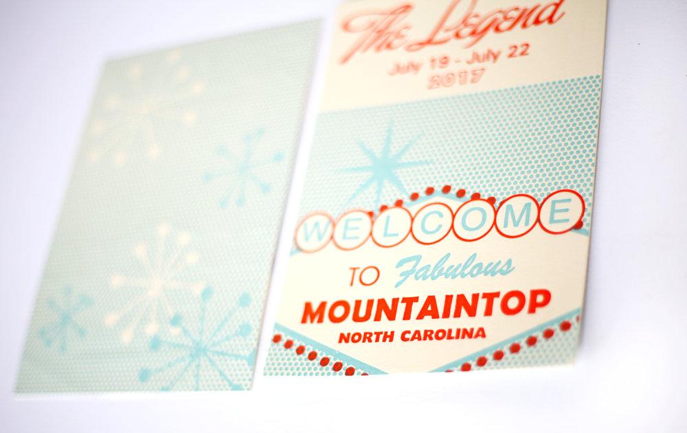 South Carolina custom letterpress for Mountaintop Golf Resort.