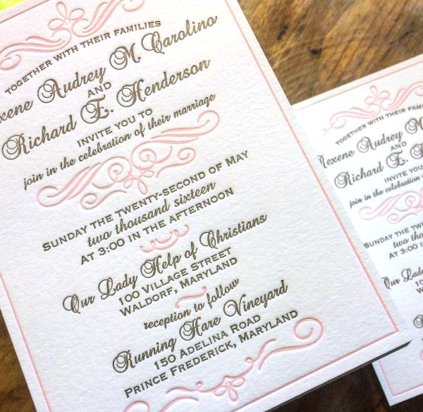 Ordering letterpress wedding invitations online sofia invitations does it seem scary to buy letterpress printed wedding invitations online are you worried about the quality of the printing types of paper used filmwisefo