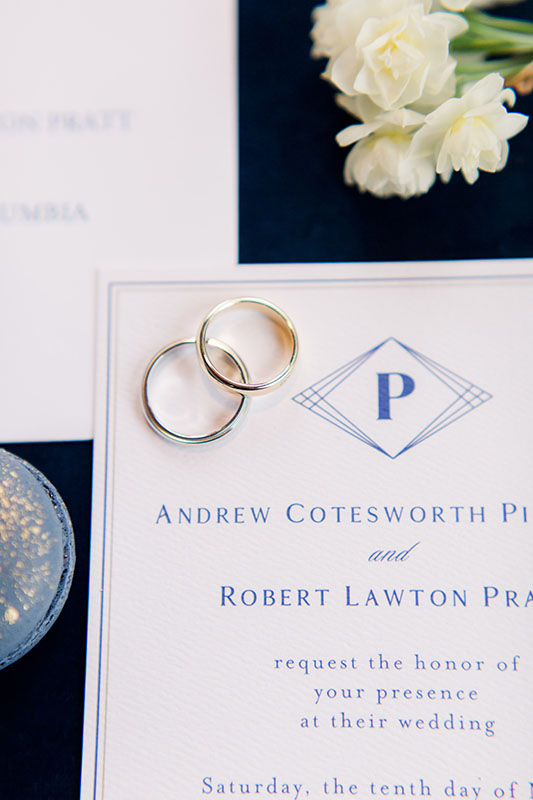 This modern geometric navy wedding invitation was designed by  Sofia Invitations . Photography is by  Riverland Studios  in Charleston, SC. Wedding planning is by  Clink Events . The wedding took place at the  Huguenot Loft  in Greenville, SC.