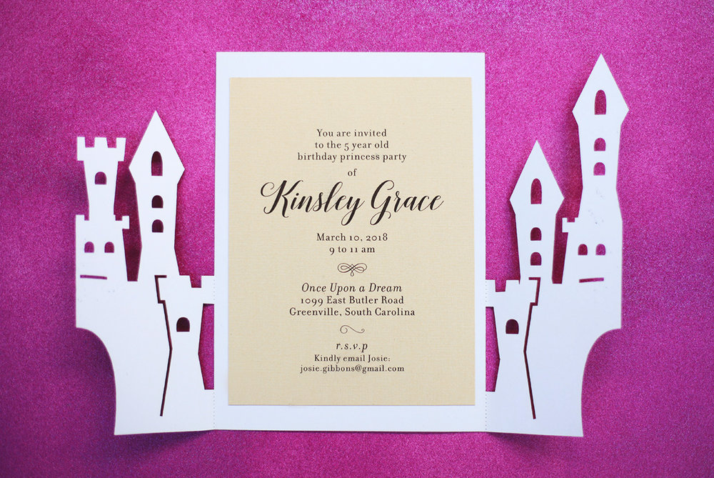 Castle Fairytale Theme Invitation for Wedding or Birthday