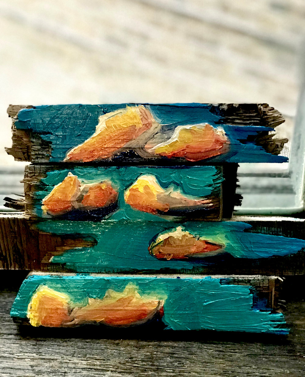 "Found Clouds, oil on found construction site wood, 11""x9"", Anna Rae Gilbert, 2017"