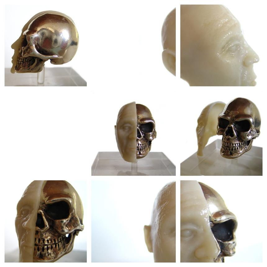 Schädel aus Silber mit abnehmbarer Keramikschale ca 4 x 7cm in Handarbeit moduliert und gegossen