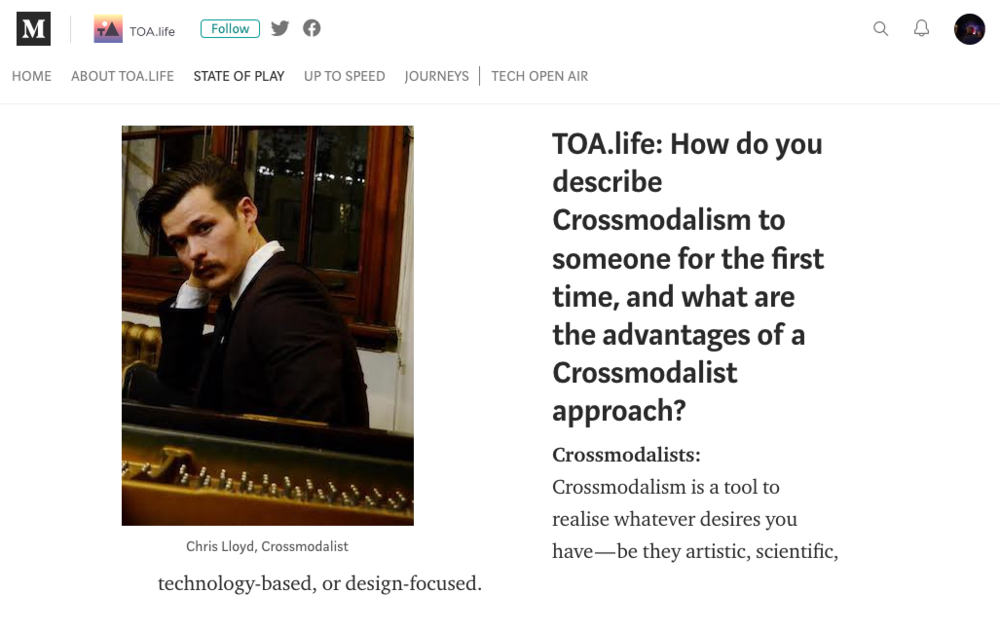 Is Crossmodalism the Dadaism of the 20th Century? Interview with TOA.life on Crossmodalism